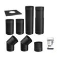 6''Ø BLACK SINGLE WALL PIPE KIT - TO THE WALL